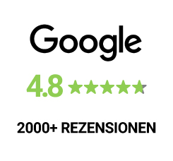 Over 2000 Reviews on Google with a 4.8 five stars rating.
